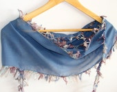 blue turkish cotton fabric scarf,women scarves,fashion,soft,for woman,gift ideas,blue scarf,with yarn lace ,purple yarn,spring,summer trends