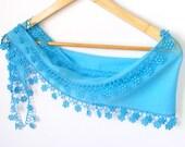 Was15 NOW 12,75 turkish yemeni fabric BLUE scarf,lacy scarf,gift ideas,moms gifts,women scarves,headband,bandana,cotton,2012 NEW fashion