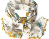 fashion scarf chiffon,handmade lace,Oya,special,unique accessories,yellow and blue,multicolor scarf,soft,fashion scarf,for her,gift ideas