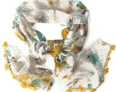 fashion scarf chiffon,handmade lace,Oya,special,unique accessories,yellow and blue,multicolor scarf,soft,fashion scarf,for her,gift ideas - seno