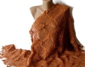 hand crocheted shawl ,terra cotta, women fashion, geometry shawl, crochet trends, floral - seno