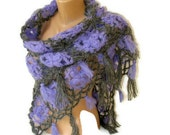 SALE gray violet shawl,women hand crocheted shawl,wool mohair,Fashion,2013 shawl trends,gift ideas for her,mom,soft warm,christmas for her