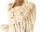 FREE SHIPPING ivory cream shawl,Women soft warm shawl,Fall fashion,gifts for her ,Best MOHAIR Shawl,by Seno