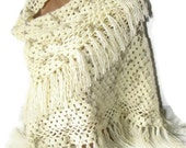 women fashion shawl, 2014 crochet trends, soft, winter, fall, spring, ivory, wedding accsessories, gifts for her