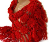 FREE SHIPPING Red crochet shawl,lace chrochet women shawl,Winter trend,special mohair yarn,warm,soft,mohair shawl,gift for her,SENO