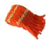 knitted women scarf, hand-knitted scarf for women, orange Wool scarf, Custom Handmade, gift ideas, Winter fashion
