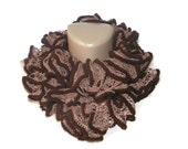 Knit scarves, women ruffled scarf, brown ruffle scarf, trends, knitting, ruffle scarf, hand-knitted scarf, fashion, winter, summer SALE