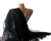 women shawl, hand crocheted black shawl, stole, wrap,2013 crochet trend, Mohair, fashion accessory, for her