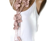 Mothers day gifts ,women, linen Crochet Pink Flower Lariat Scarf, Fashion Flower Scarves, Necklace, crocheted scarves
