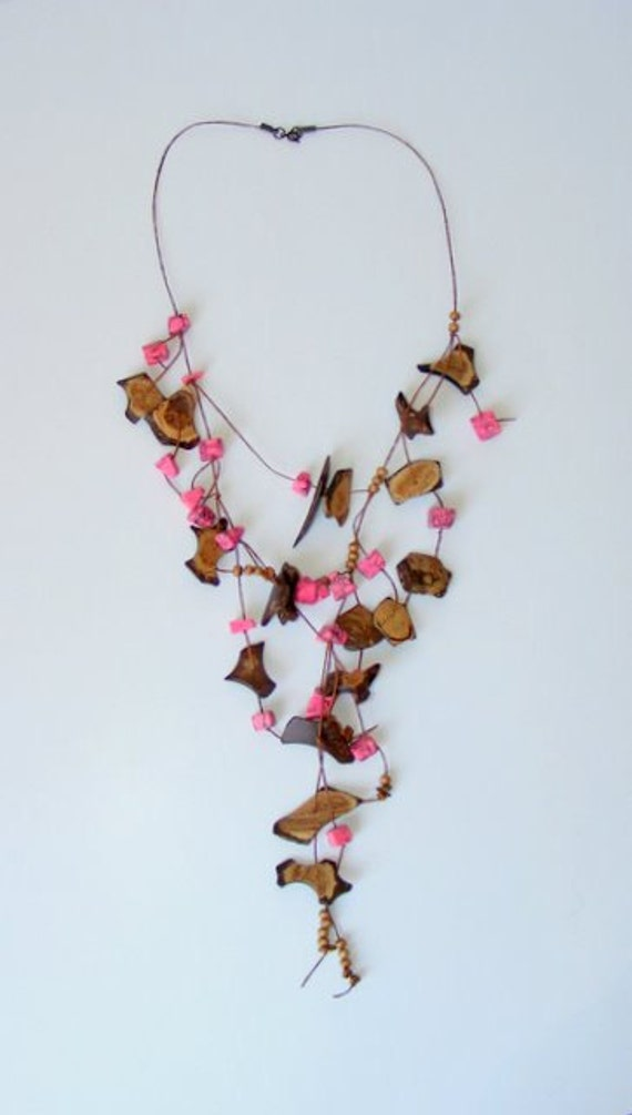 pink asymmetric dream ,natural materials,useful, stylish necklace , by Seno