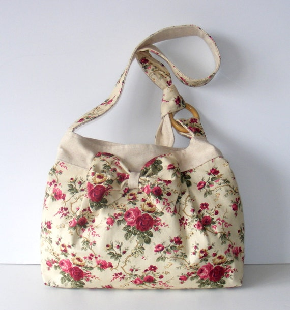 floral bag,bowed,everyday bag and purse,Pleated-Adjustable to Straps,gift ideas,for her,Canvas,Floral bag,Everyday bag ,by Seno