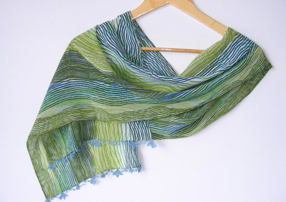 summer fashions,chiffon,colorful,unique,gift ideas,mothers day,stripes,green,blue,scarves,nylon-free,handmade gift scarf, 2012 trends,