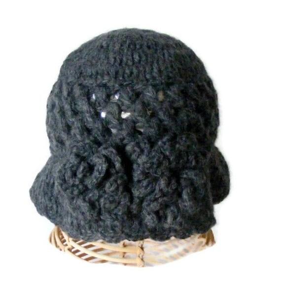 crochet gray women hat, crochet hat ,winter trend, women accessory, fashion hat