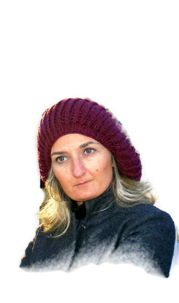 plum Knitted women hat ,fashion accessory ,knitting beanie - cap ,for her ,winter trends