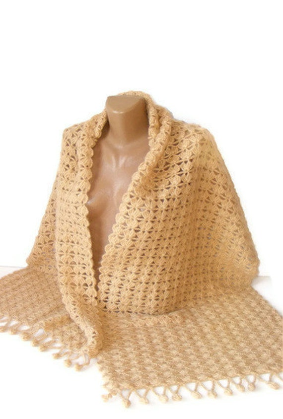 women hand crocheted shawl, beige, mohair shawl ,winter trends, rectangle, fall fashion, for her, gift ideas