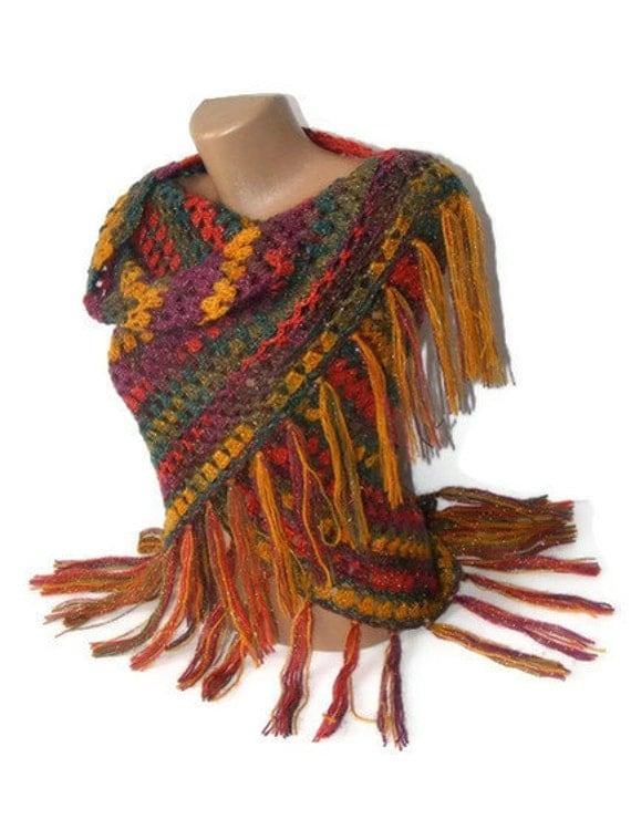 women shawl, hand-crocheted shawl, stole, multicolor, crochet trends, gift ideas, mohair, acrylic, wool, silvery yarn