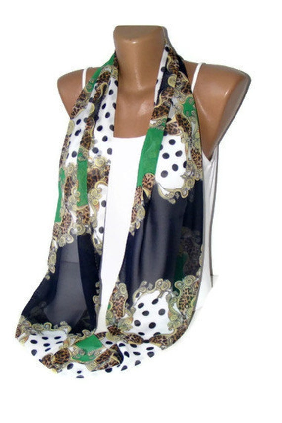 Chiffon Infinity Scarf -green and navy blue -New,Infinity Scarf,Loop Scarf,Circle Scarf,valentines day