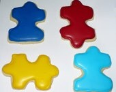Autism Awareness Puzzle Piece Cookies 1 dozen