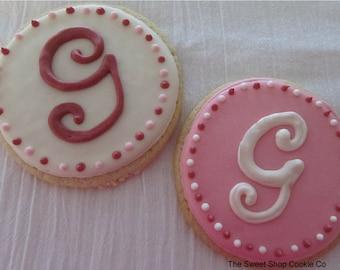 Shabby Chic Monogram cookies 3 dozen