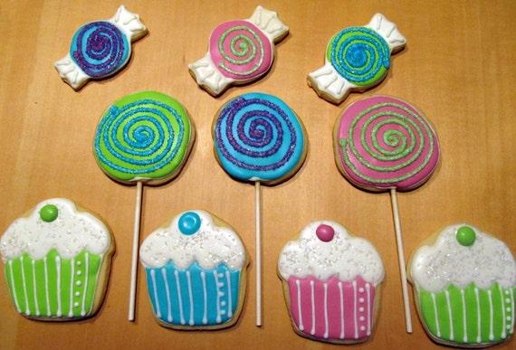 1 dozen Cupcakes, Lollipops and Candies cutout cookies