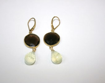 14 Karat Gold Filled Smokey Topaz Earrings With Preanite Drop