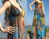 SALE 15% OFF New Brown Blue Sexy Beach Floral Maxi Summer Long Dress M L XL 1X Free Earring