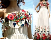 New White Maxi Dress Floral One Shoulder Jersey Dress Women Fall Evening Formal Wedding