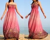 Pink Maxi Dress Change Tone Sundress Beach Long Dress Bridesmaid Dress XS S M L XL