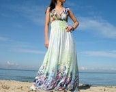 Romance Long Maxi Dress Bridesmaid Dress/ Green Sundress Cocktail Evening Prom Dress