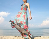 Floral Sundress Long Maxi Dress Romance Rose Bridesmaid Dress/ Evening Dress XS S M L XL
