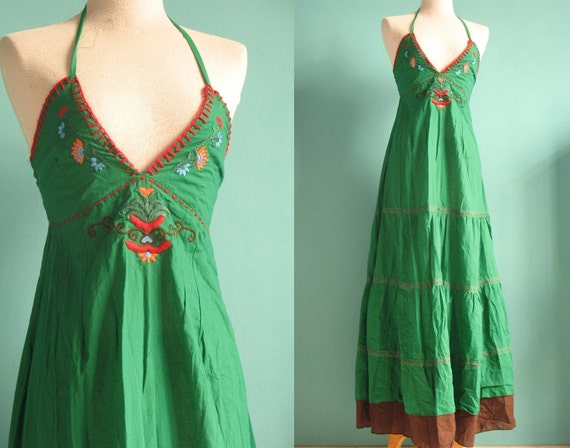 Smile Beauty Long Dress Maxi Dress ..... Cotton Embroidered Evening Dress Beach Floral Sundress