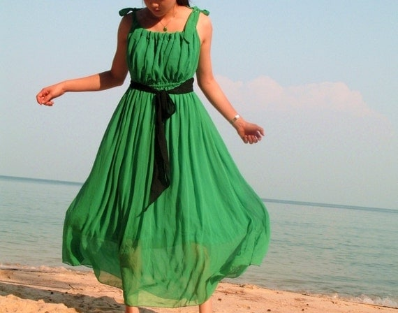 Maxi Long Dress Sexy Green Chiffon Party Dress Summer Sundress : Prairie Collection