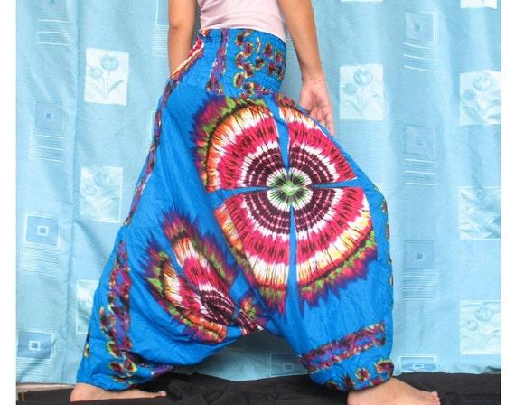 Tie Dye Floral Boho Hippie Pants Gypsy Fisherman Women Pants Jumpsuit Tube Top Playsuit