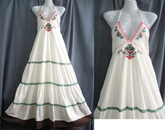 Long Cotton Dress White Embroidered Sundress: Smile Beauty Collection Maxi Dress
