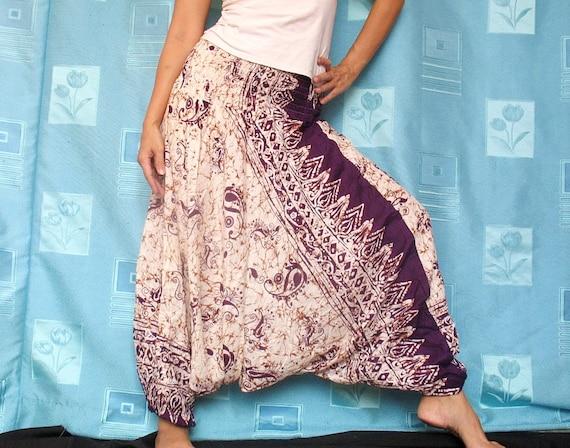 Batik Purple Hippie Harem Pants Boho Gypsy Yoga Fisherman Pants Jumpsuit Tube Top Playsuit