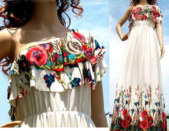 New White Maxi Dress Floral One Shoulder Jersey Dress Women Fall Evening Formal Wedding