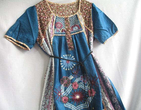 Women Top Blue Shirt Blouse Kaftan Caftan Embroidered Tunic/ Boho Hippie Short Sleeve Blue