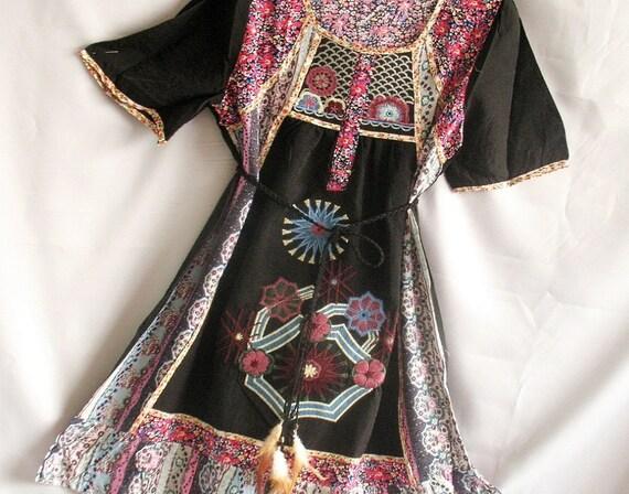 Black Top Women Blouse Shirt Kaftan Caftan Embroidered Tunic/ Short Sleeve Tshirt Xmas Gift