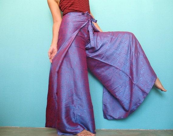 Thai Silk Women Hippie Pants Twin Color Harem Yoga Pants Long Wrap Trousers S M L XL XXL