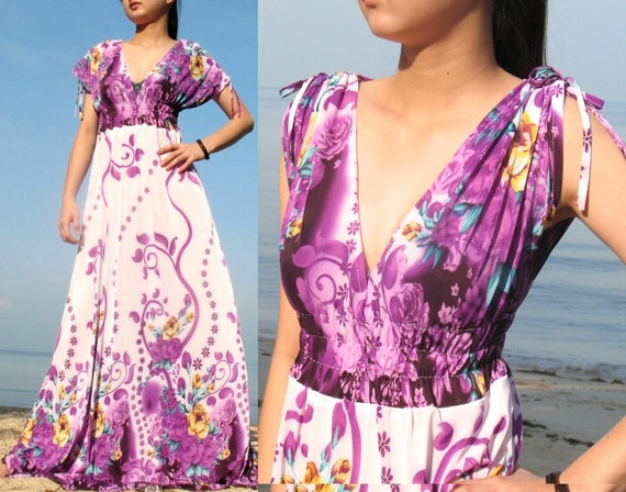 Purple Long Maxi Dress/ Bridesmaid Dress - Deep V Two Way Wear Long Evening Dress S M L