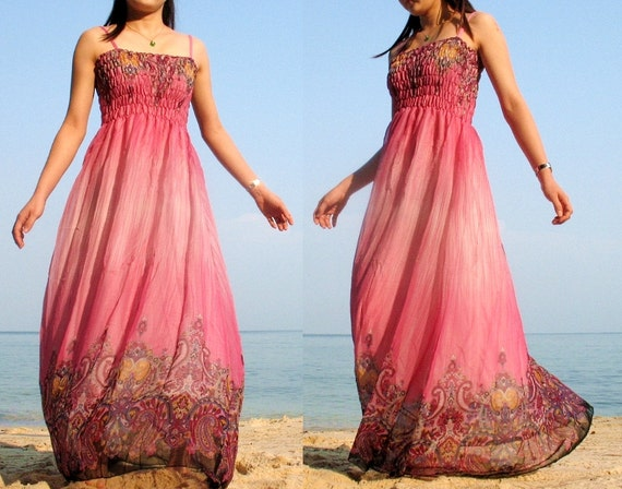 Pink Maxi Dress Change Tone Sundress Beach Long Dress Bridesmaid Dress XS S M L XL