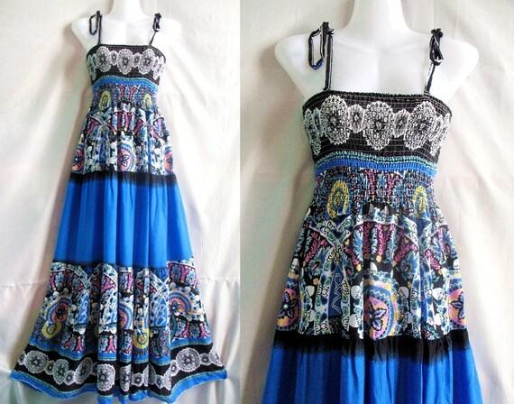 Sea Blue Maxi Dress Change Tone Sundress Beach Long Dress Evening Dress/ Bridesmaid Dress