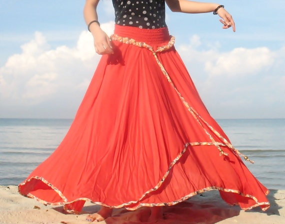 Summer Cotton Maxi Skirt Inspiration Flowing Full Circle Long Skirt / Party Bridesmaid Dress