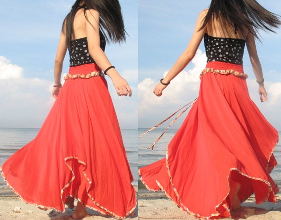 Summer Cotton Maxi Skirt Inspiration Flowing Full By