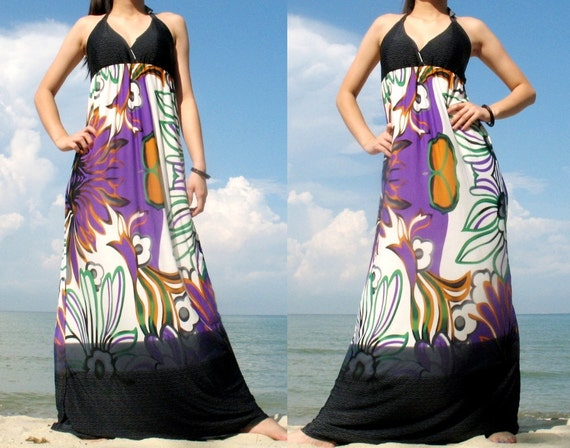 Floral Sundress Elegant Maxi Dress Romance Long Dress Evening Dress / Bridesmaid dress