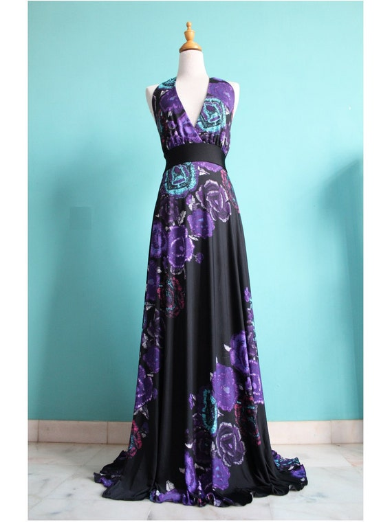 50% SALES Deep V Evening Dress Black Purple Sexy Halter Maxi Dress Floral Summer Prom Long Dress