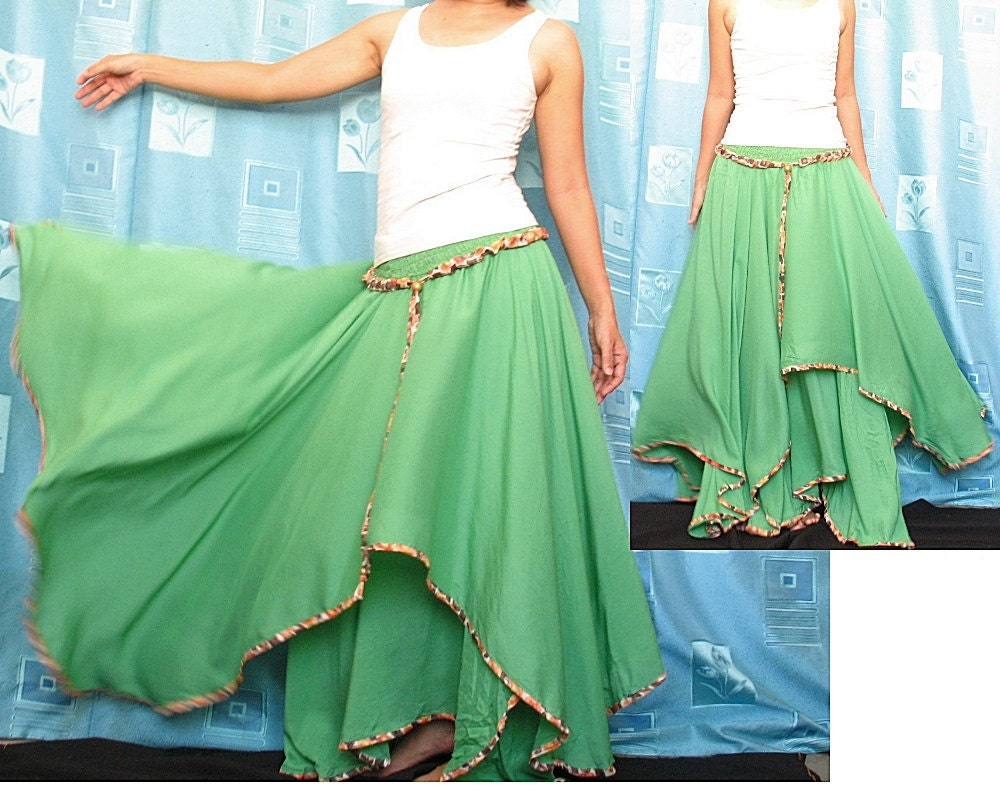Circle Maxi Skirt Cotton Hippie Green Women Long Skirt / Maxi