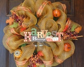 Deco Mesh Harvest Blessings Fall Wreath
