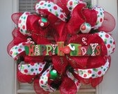 Happy Holidays/Merry Christmas Deco Mesh Wreath