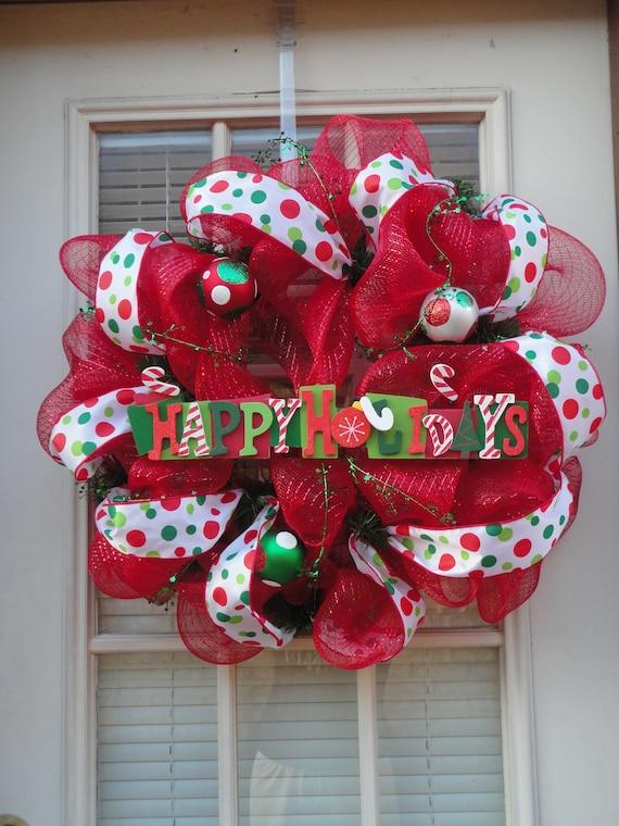 Happy Holidays Deco Mesh Wreath
